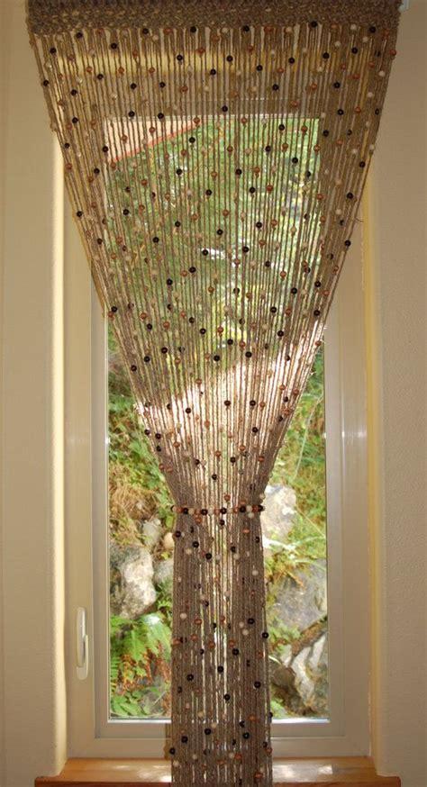 natural jute crochet curtain door window with wooden