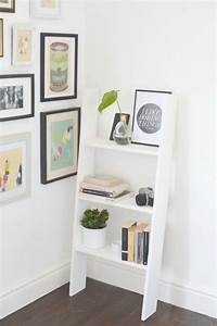 perfect wall ladder bookshelf DIY Ladder Shelf Perfect For Small Spaces - Shelterness