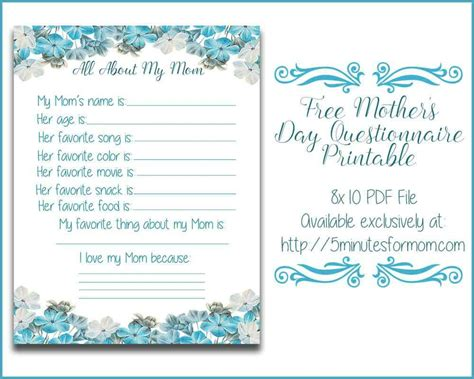 mom questionnaire  printable  mother