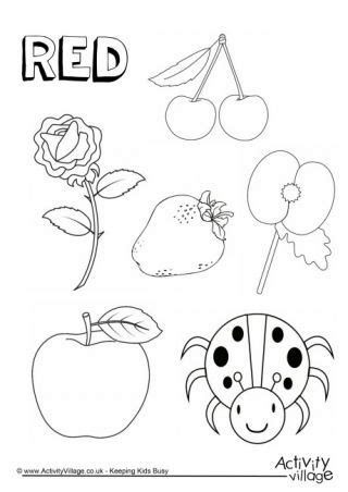 red  colouring page colors preschool color