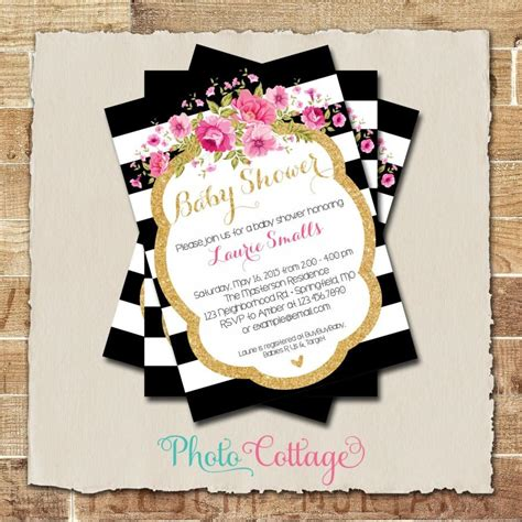 Pink And Black Baby Shower Invitations - baby shower invitation glitter gold pink invitation