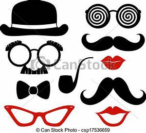 Party props vector Set of mustaches, lips and eyeglasses