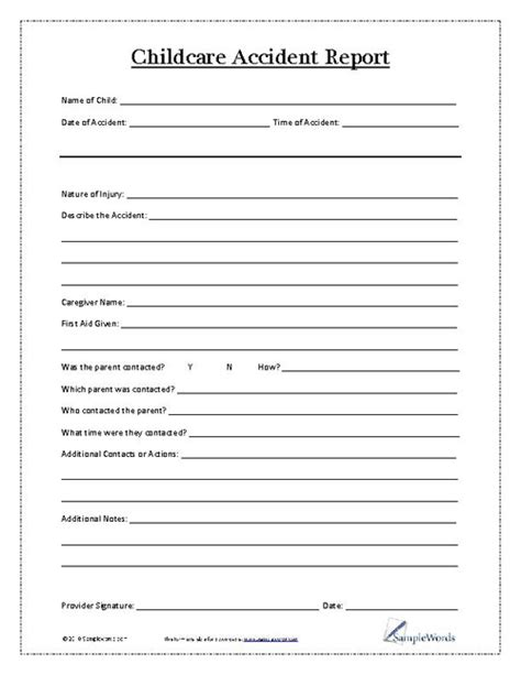 child care incident report form template