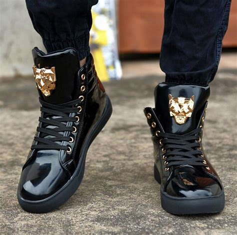 New Fashion High Top Casual Shoes For Men Leather
