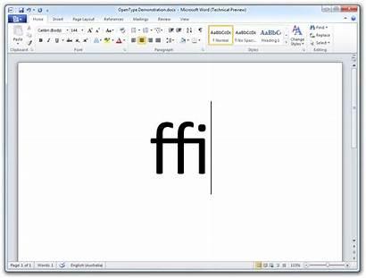 Word Microsoft Office Fonts Ligatures Ligature Opentype