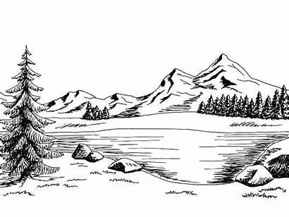 Lake Vector Clip Illustrations Mountain Landscape Graphic