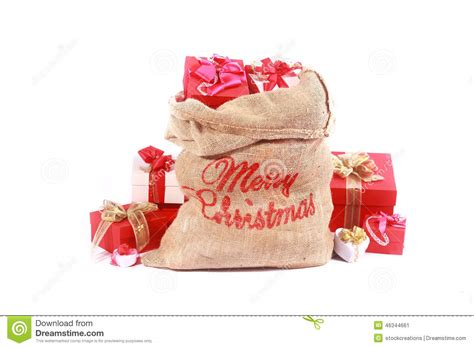 red santa sack for babies pictures and white themed santa gift sack stock photo image 46344661