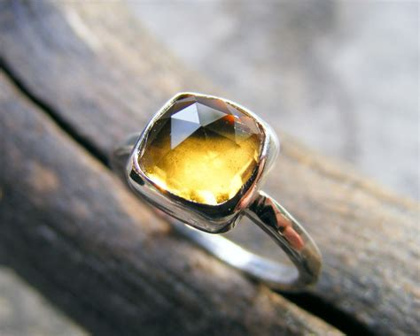 citrine sterling silver stacking ring yellow rose cut