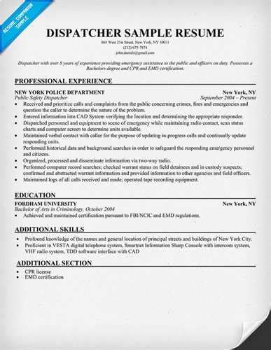 dispatcher resume volumetrics co transportation