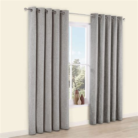 Grey Drapery Panels by Thornbury Grey Chenille Eyelet Lined Curtains W 117 Cm L