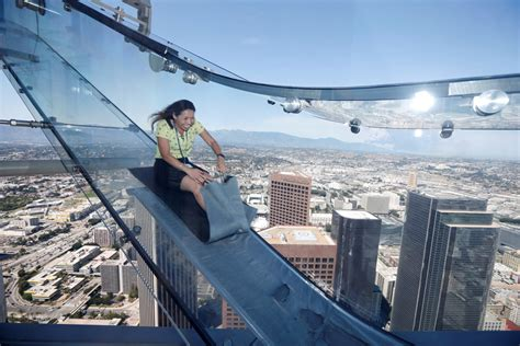 Us Bank Tower Observation Deck Slide by Rides Skyslide 1000 Above Downtown Los Angeles
