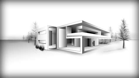 3d House Drawing Pencil Architecture