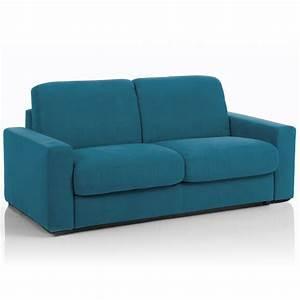 Canapé Tissu Bleu : canap convertible 3 places maxi tissu d houssable bleu canard maison et styles ~ Teatrodelosmanantiales.com Idées de Décoration