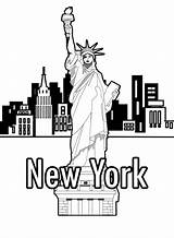 Liberty Coloring Statue York Pages Books Printable Skyline Drawing Lesson Template Pencil Getcolorings Printables Lions Tigers Adult Getdrawings Buildings Wickedbabesblog sketch template