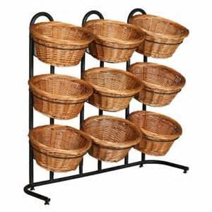 three tier floor l 38 quot h 3 tier 9 round willow basket and floor stand display rack