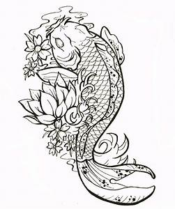 cluster flower with koi fish design for tattoo - Google ...