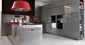 grey with red pops modern kitchens from elmar cucine image With grey and red kitchen designs