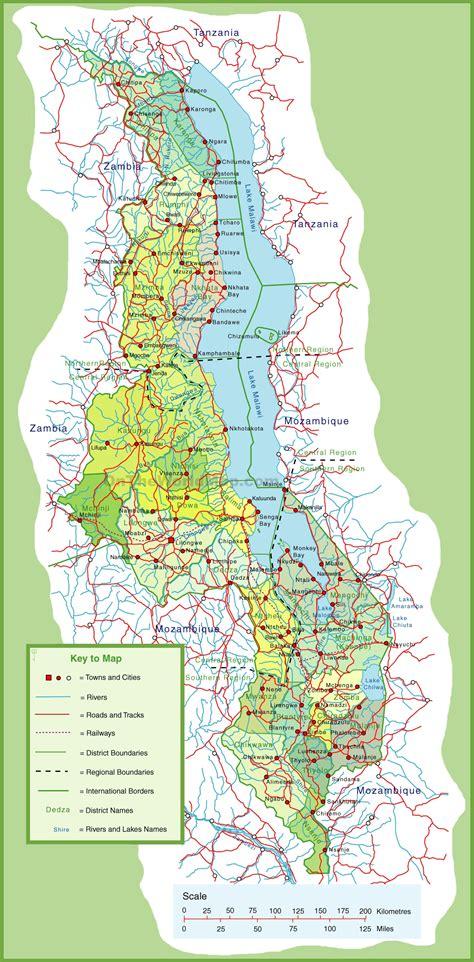 large detailed map  malawi