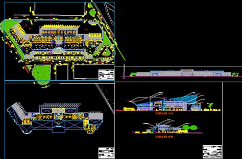 bus station dwg section  autocad designs cad