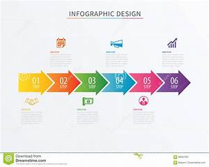 Infographics Arrow Number 6 Step Template  Vector Process