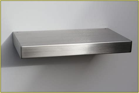 Kitchen Shelving Ideas - interior stainless steel floating shelves two tiers for kitchen sophisticated stainless steel
