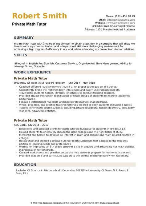 Tutoring Resume by Tutor On Resume Vvengelbert Nl