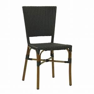 Chaise Rotin Noir : chaise rotin bistrot tressage pvc noir cro f003 n one mobilier ~ Teatrodelosmanantiales.com Idées de Décoration