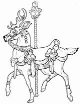 Coloring Pages Carousel Christmas Horse Deer Stamplistic Adults Animal Animals Printable Adult Carosel Horses Colouring Books Sheets Imagixs April Patterns sketch template