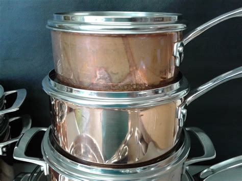 lot detail viking culinary copper stainless steel cookware set  piece