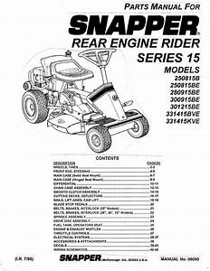 Snapper Lawn Mower 250815b User U0026 39 S Guide