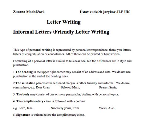 informal letter format sample top form templates