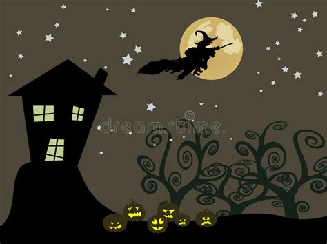 witch flying   moon stock vector illustration