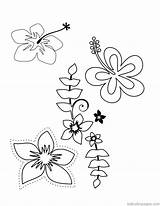 Coloring Hawaiian Flower Lei Printable Tropical Luau Template Hawaii Templates Colouring Comments sketch template