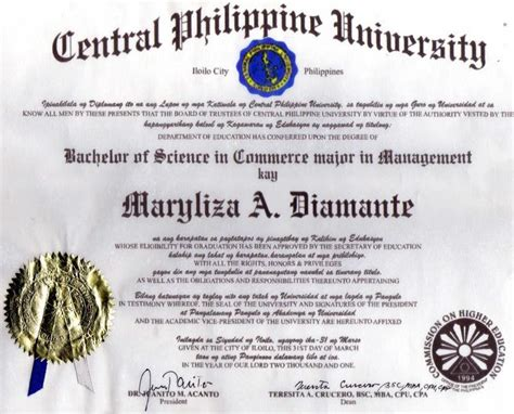 sample diploma certificate philippines image collections