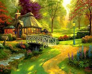 lovely forest cottage wallpaper