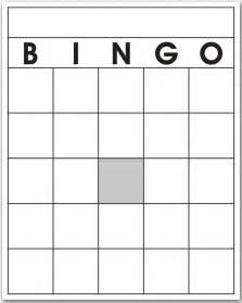 Printable Blank Bingo Cards Template