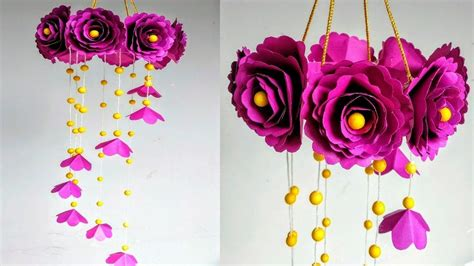 Hanging paper flowers up can make your room feel vibrant and lovely. DIY Wind Chime with Beautiful Paper Roses|Wall Hanging ...