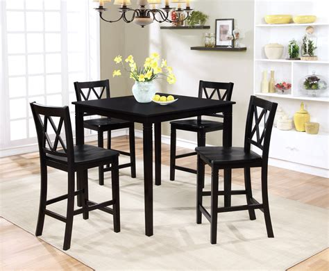 small black dining table set essential home dahlia 5 piece square table dining set black