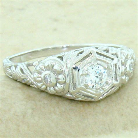 engagement wedding antique style  sterling silver cz