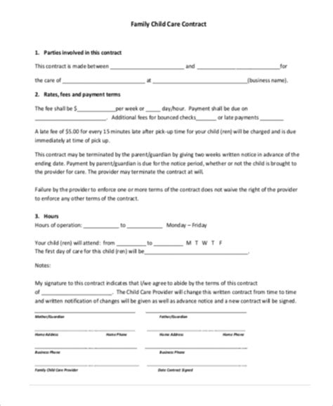 family agreement form contract form sle 7 free documents in word pdf
