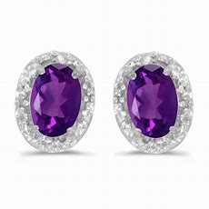 10k White Gold Oval Amethyst And Diamond Earrings  Ebay