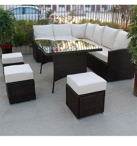 sofa dining set garden 9 seater rattan corner garden furniture sofa set and