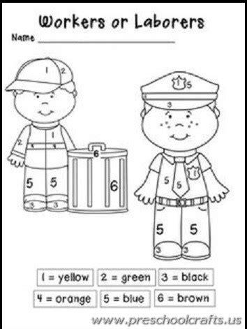 labour day worksheets  kids preschool crafts