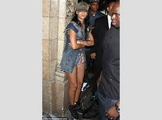 Rihanna wears American flag shorts for a night of partying