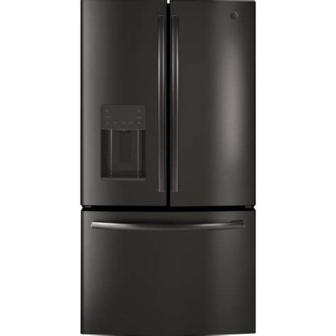 ge  cu ft french door refrigerator  ice maker black stainless energy star