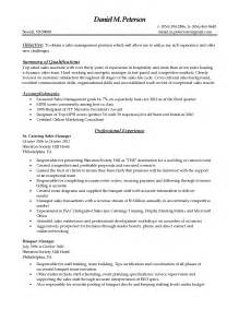 sales resume summary of qualifications exles management catering sales resume