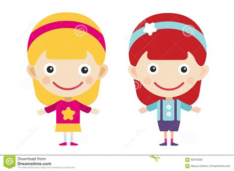 Redhead And Blonde Cartoon Vector Girls In Stock Vector