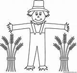 Scarecrow Coloring Wheat Sheaves Autumn Fall Thanksgiving Halloween Bigactivities Pages Scarecrows Activity sketch template
