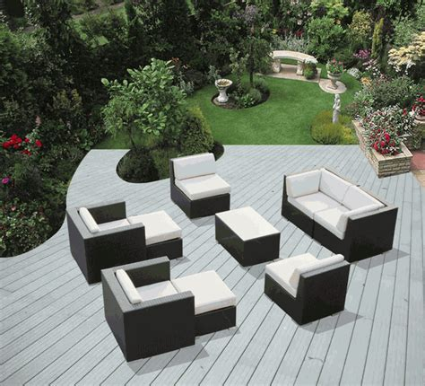 ohana outdoor patio wicker sofa dining and chaise lounge