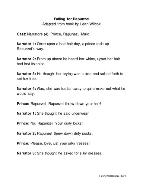 falling  rapunzel readers theater script